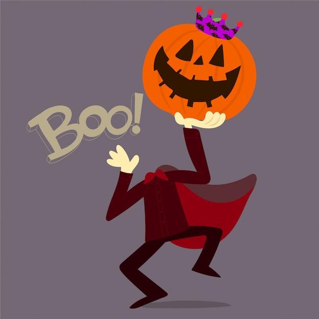 Zucca di halloween con corona Vettore Premium