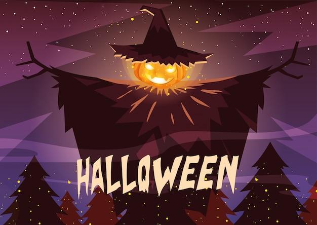 Zucca di halloween con il cappello della strega nella scena di halloween Vettore Premium