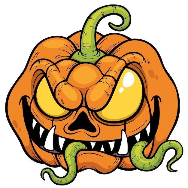 Zucca di halloween del fumetto Vettore Premium