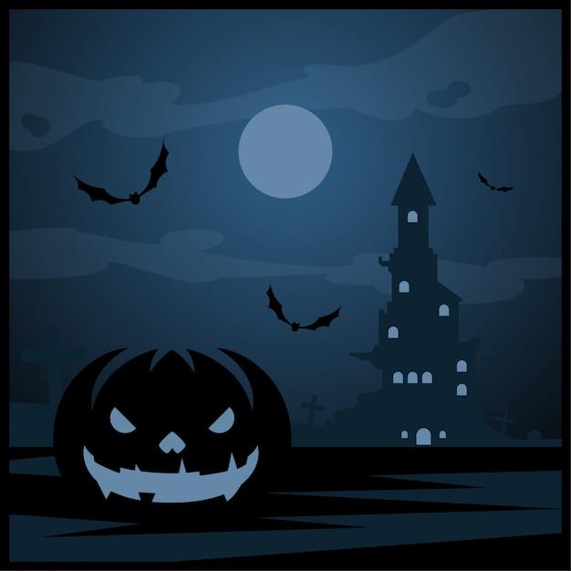Zucca di halloween e castello scuro con la luna blu sul fondo del cimitero Vettore Premium