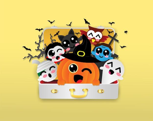 Zucca, dracula, pipistrello, mummia, fantasma, gufo, zombie in borsa da viaggio, halloween Vettore Premium