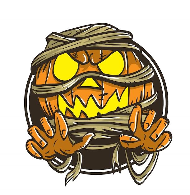 Zucca halloween mummia mostro illustrazione vettoriale Vettore Premium