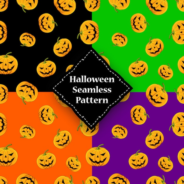 Zucca senza cuciture con gli occhi e la bocca halloween Vettore Premium