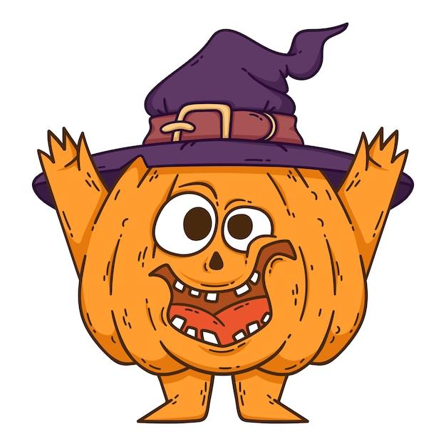 Zucca sorridente di halloween con le mani, le gambe e il cappello della strega. Vettore Premium