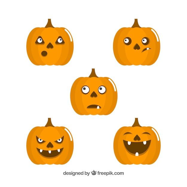 Facce Zucche Di Halloween.Zucche Di Halloween Con Facce Divertenti Scaricare Vettori Gratis