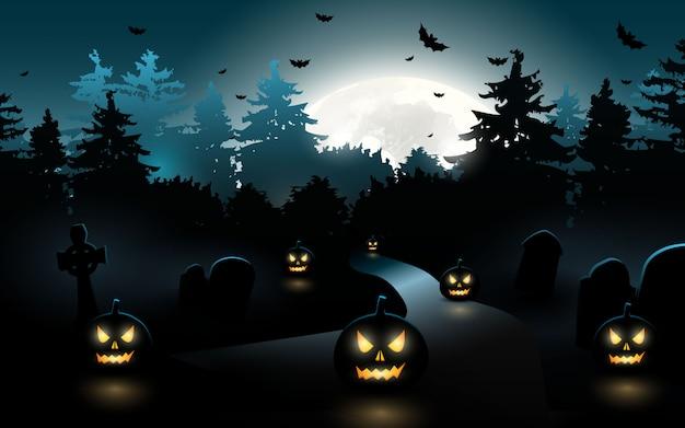 Zucche di halloween. priorità bassa di halloween alla foresta di notte con la luna Vettore Premium