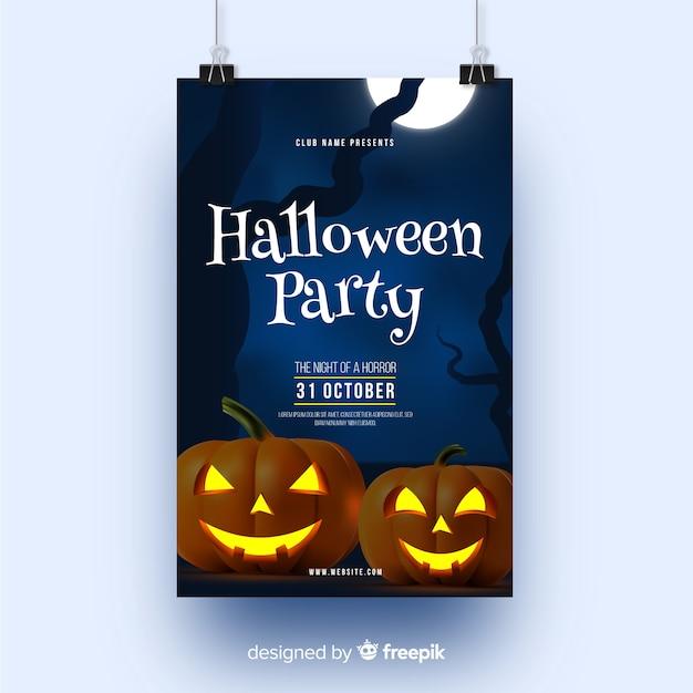 Zucche e luna piena festa di halloween poster Vettore gratuito