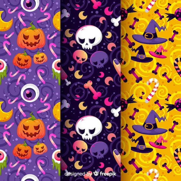 Zucche e stregoneria collezione di pattern di halloween Vettore gratuito