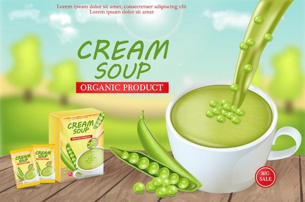 Zuppa di piselli mock up Vettore Premium