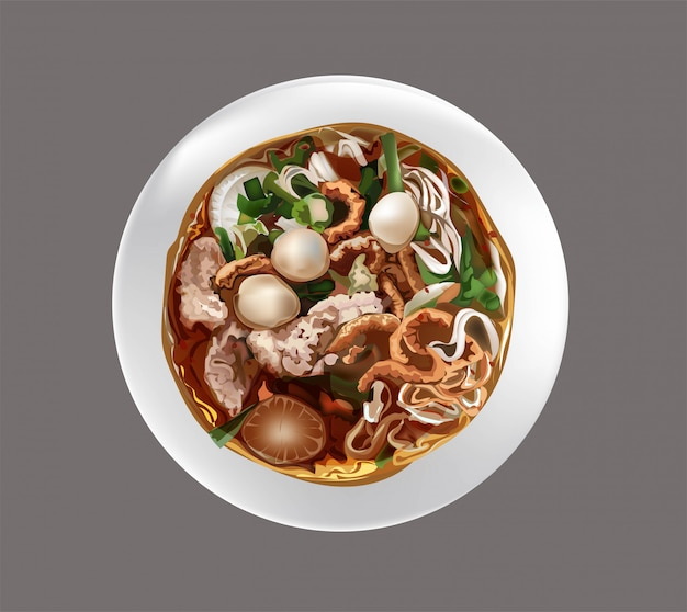 Zuppa di spaghetti in tailandese Vettore Premium