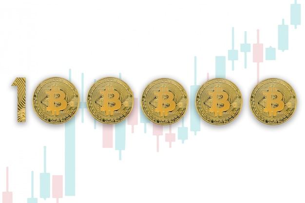 100000 bitcoin wisselkoers, geïsoleerd. crypto-valutastijl voor ontwerp. handel grafieken achtergrond Premium Foto