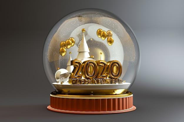 2020 en gelukkig nieuwjaar typografie in een koepel Premium Foto