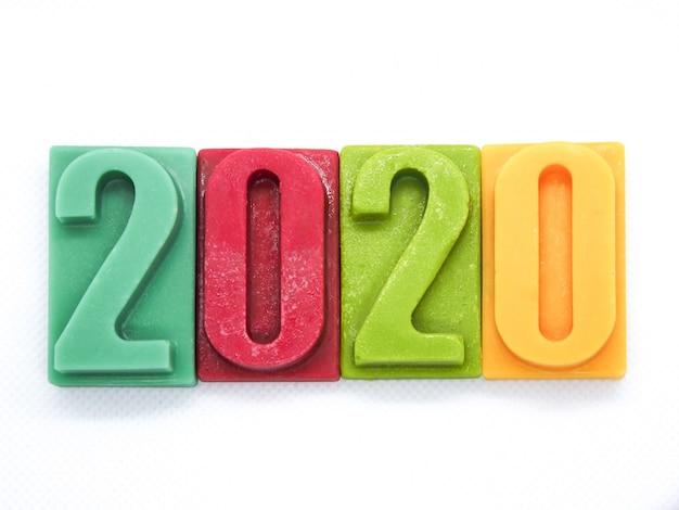 2020 gelukkig nieuwjaar chocoladereep nummer Premium Foto