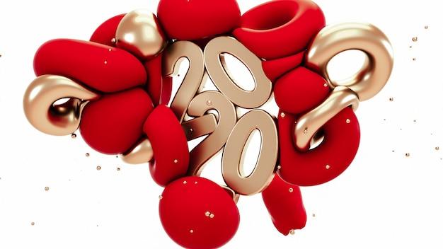 2020 nieuwjaar. rode en metalen gouden abstracte vormen Premium Foto