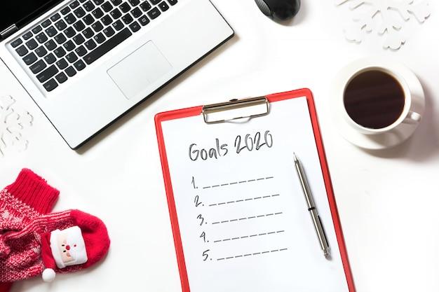 2020 nieuwjaarsdoelen, planning, dromen en wensen Premium Foto