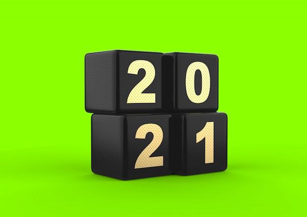 2021 3d-rendering zwart glanzend kubus nummer goud met stip textuur groen scherm geïsoleerd Premium Foto