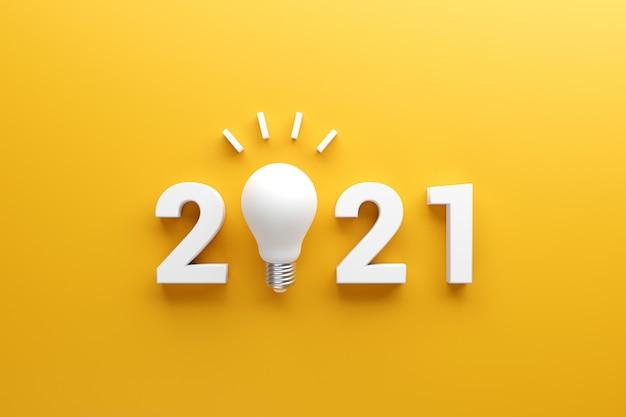 2021 creativiteit inspiratieconcepten, gloeilamp idee met nieuwjaar 2021. Premium Foto