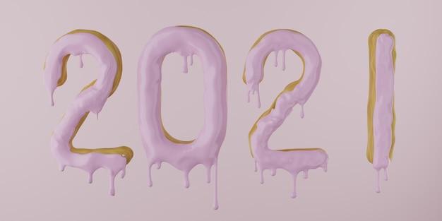 2021 van een donut met druipende suikerglazuur op een roze achtergrond, 3d render Premium Foto