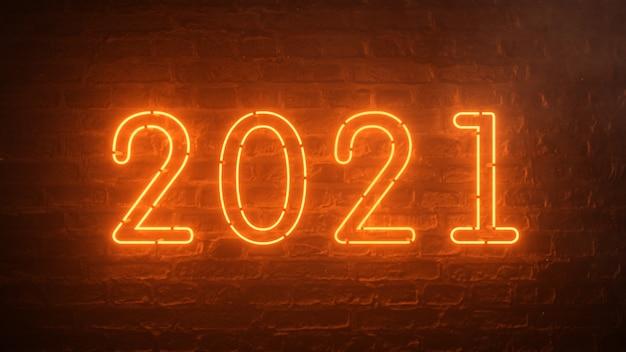 2021 vuur oranje neon teken achtergrond nieuw jaar concept. gelukkig nieuwjaar. baksteen achtergrond. flikkerend licht. Premium Foto