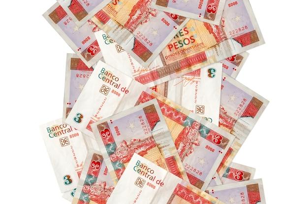 3 cubaanse peso's converteerbare rekeningen vliegen naar beneden geïsoleerd op wit Premium Foto