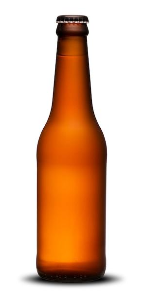 300ml de bierflessen snakken hals droog op witte achtergrond. ipa. Premium Foto