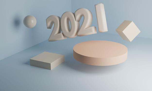 3d 2021, het nieuwe komende jaar. Premium Foto