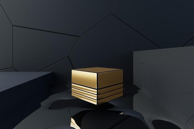 3d abstract ontwerp scène met zwevende van gouden doos. Premium Foto