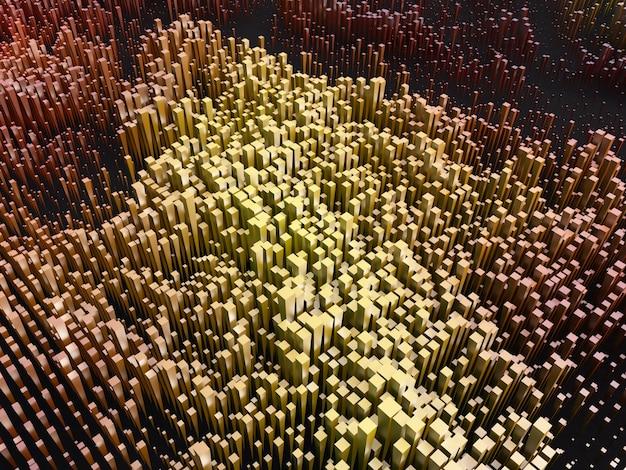 3d abstracte achtergrond met het uitdrijven van blokken Gratis Foto