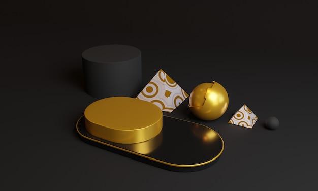 3d-abstracte gouden geometrische vormen. Premium Foto