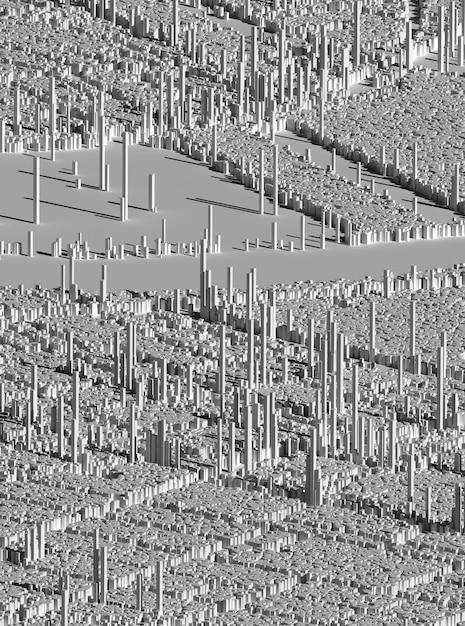 3d abstracte kunst met een deel van het surrealistische stadsgezichtsoriëntatiepunt op basis van kubussen en rechthoeken in grijs Premium Foto
