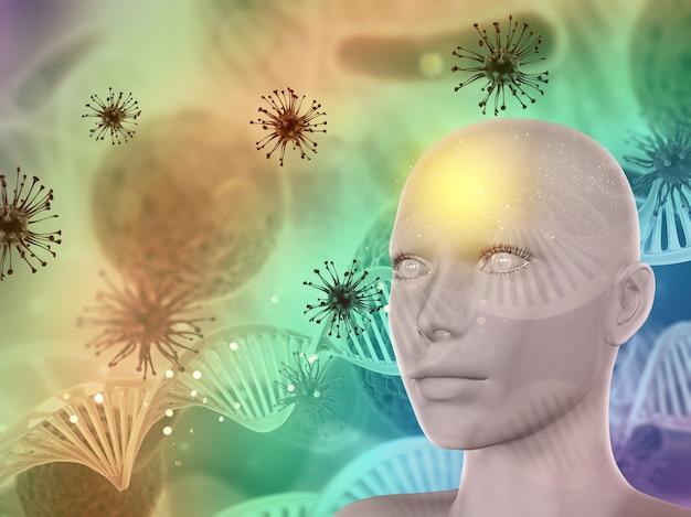 3d abstracte medische achtergrond met vrouwelijk gezicht, viruscellen en dna-bundels Gratis Foto