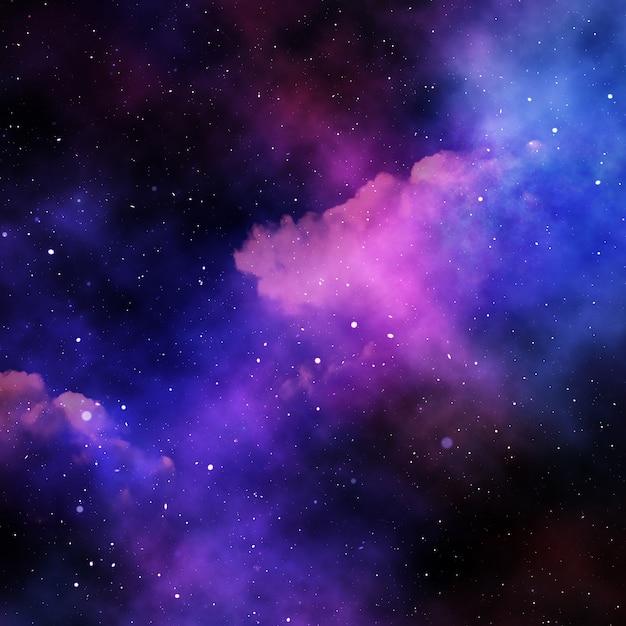 3D abstracte ruimtehemel met sterren en nevel Gratis Foto