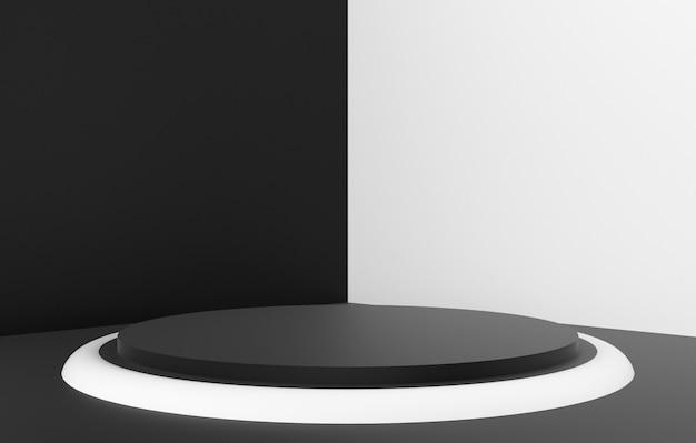 3d-abstracte vorm en geometrie, zwart-wit kleur fase achtergrond. Premium Foto