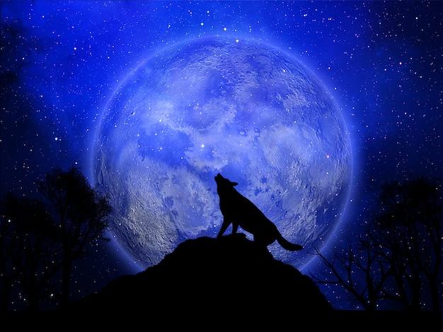 3d achtergrond van halloween met wolf die tegen de maan huilt Gratis Foto