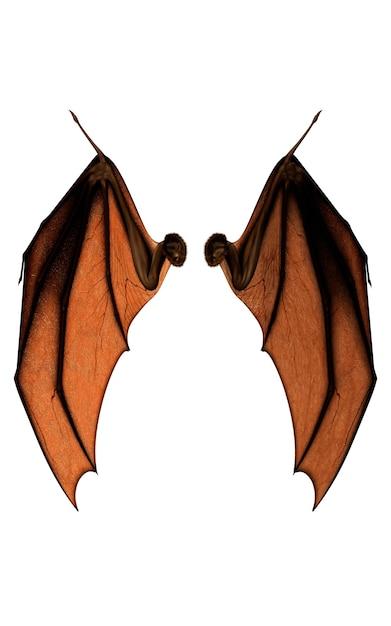3d-afbeelding devil wings, demon wing verenkleed geã¯soleerd op witte achtergrond Premium Foto