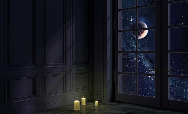 3d-afbeelding. een kamer met een raam 's nachts en ruimte. galaxy en planeten Premium Foto