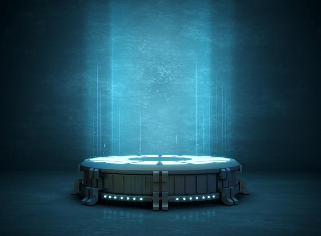 3d-afbeelding. futuristische stand of podium achtergrond voor logo. hoge energie. bespotten Premium Foto