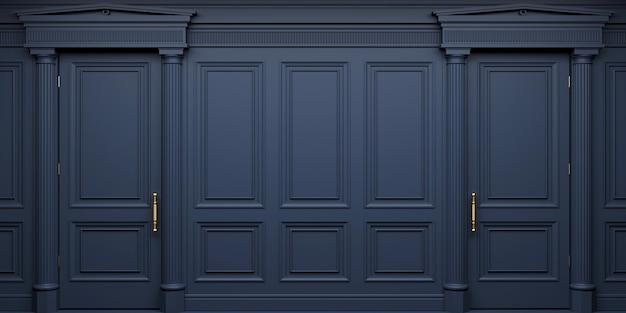 3d-afbeelding. klassieke muur van donkere houten paneeldeuren. schrijnwerk in het interieur. achtergrond. Premium Foto