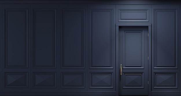 3d-afbeelding. klassieke muur van donkere houten panelen met deur. schrijnwerk in het interieur. achtergrond. Premium Foto