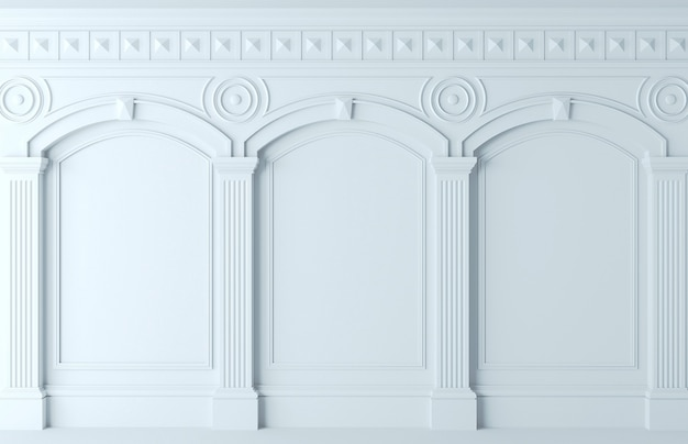 3d-afbeelding. klassieke muur van witte houten panelen. schrijnwerk in het interieur. achtergrond. Premium Foto