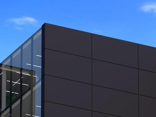 3d-afbeelding. logo mockup 3d teken kantoor of winkel bouwen. Premium Foto