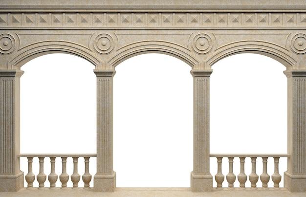 3d-afbeelding. marmeren antieke muurgalerij. achtergrond banner. poster. de architectuur van de antieke wereld. Premium Foto