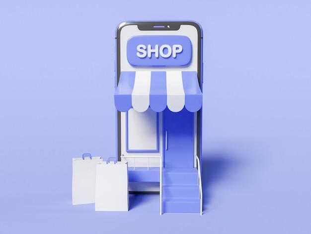 3d-afbeelding. smartphone met een winkel op het scherm en met papieren zakken. winkel online concept. Gratis Foto