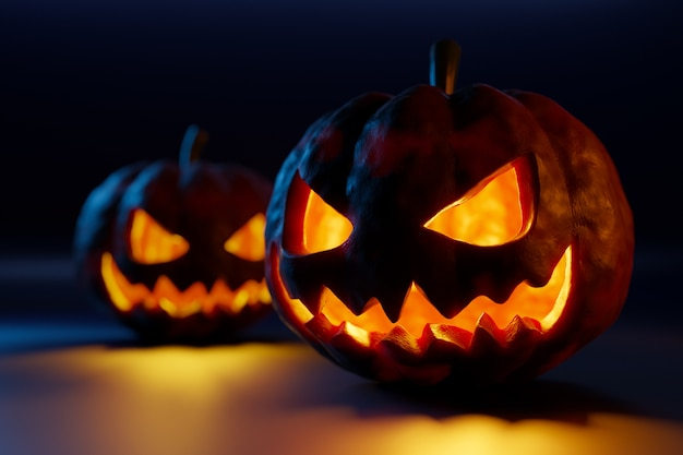 3d-afbeelding twee grote oranje pompoenen met uitgesneden hartstochtelijke ogen en scheve glimlachen gloeien in het donker. het concept van halloween-karakters Premium Foto