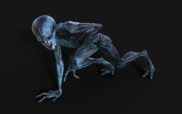 3d-afbeelding van een alien rode ogen op zwart. Premium Foto