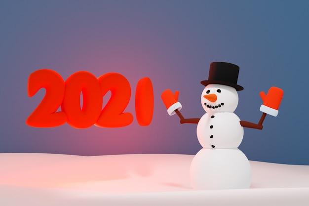 3d-afbeelding van een kerstmissneeuwman in de buurt van de inscriptie 2021 Premium Foto