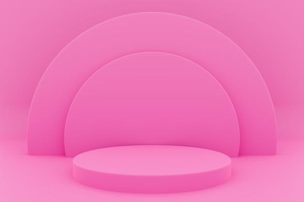 3d-afbeelding van een scène uit een cirkel met ronde boog aan de achterkant op een roze achtergrond. Premium Foto