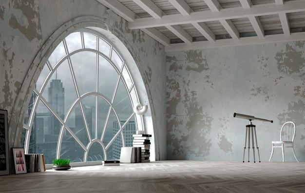 3d-afbeelding. zolderinterieur in loftstijl met een enorm gebogen raam. panorama van de stad. Premium Foto