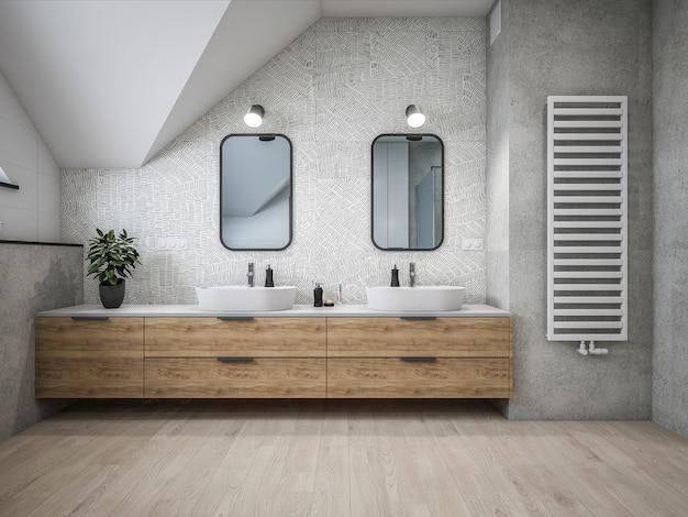 3d-architectuur badkamer Premium Foto