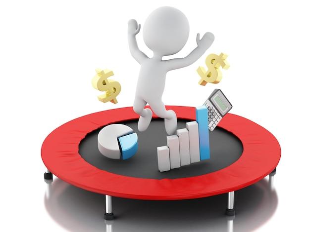 3d bedrijfsmensen, gelukkig springend voor het succes in trampoline. Premium Foto